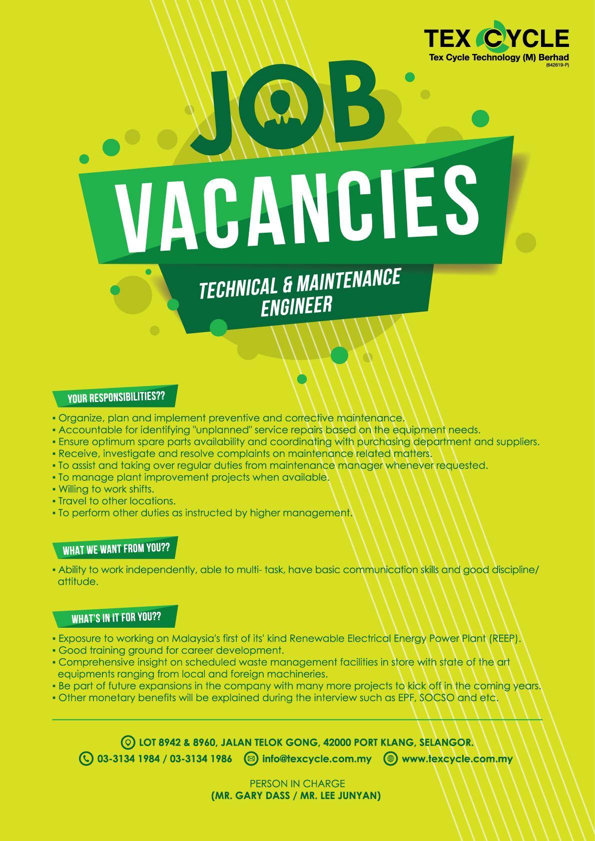 Job Vacancies Advertisement Tex Cycle